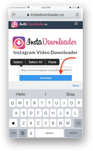 download instagram video iphone step 03
